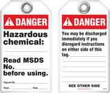 Safety Tag - Danger, Hazardous Chemical (Ansi - Dismissal)