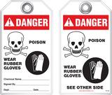 Warning Tag - Danger, Poison, Wear Rubber Gloves (Ansi)
