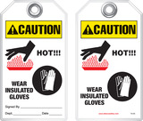 Warning Tag - Caution, Hot! Wear Insulated Gloves (Ansi)