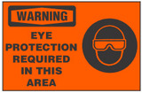 Warning Safety Sign, Eye Protection Required In This Area (With Symbol Safety Sign, Orange Background)