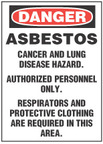 Danger Sign, Asbestos, Cancer And Lung Disease Hazard. Authorized Personnel Only. Respirators And Protective Clothing Are Required In This Area