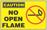 Caution Sign, No Open Flame (With Symbol, Yellow Background)