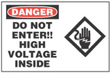 Danger Sign, Do Not Enter!! High Voltage Inside (With Symbol)