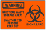 Warning Sign, Infectious Waste Storage Area! Unauthorized Persons Keep Out (With Symbol, Orange Background