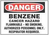 Danger Sign, Benzene, Cancer Hazard. Flammable - No Smoking. Authorized Personnel Only. Respiration Required