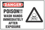 Danger Sign, Poison!! Wash Hands Immediately After Exposure