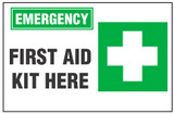 Emergency Sign, First Aid Kit Here (With Symbol)