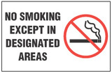 No Smoking Sign - No Smoking Except In Designated Areas (With Symbol)