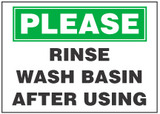 Sanitary Sign: Rinse Wash Basin After Using