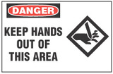 Danger Sign, Keep Hands Out Of This Area  (With Symbol)
