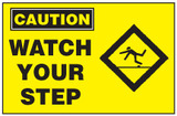 Caution Sign, Watch Your Step (With Symbol, Yellow Background)