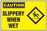 Caution Sign, Slippery When Wet (With Symbol, Yellow Background)
