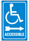 Handicapped Sign,Accessible (Right Arrow, Blue Background)