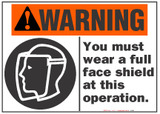 Warning Sign, You Must Wear A Full Face Shield At This Operation (With Symbol)