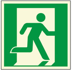 Aluminum Glow-in-the-Dark Emergency Exit Symbol, Man Running Right, with Adhesive Back