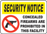Concealed Firearms Are Prohibited In This Facility