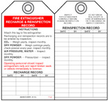 Fire Prevention Safety Tag - Fire Extinguisher Recharge And Reinspection Record (Operating Personnel)