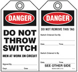 Warning Tag - Danger, Do Not Throw Switch