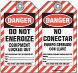 Bilingual Safety Tag - Danger, Do Not Energize, Equipment Locked Out, No Conectar, Equipo Cerrado Con Llave