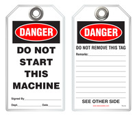 Safety Tag - Danger, Do Not Start This Machine