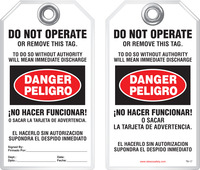 Bilingual Safety Tag - Danger, Peligro, Do Not Operate Or Remove This Tag, No Hacer Funcionar (English/Spanish)