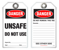 Safety Tag - Danger, Unsafe, Do Not Use