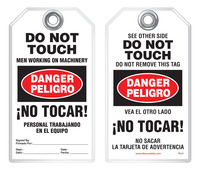 Bilingual Safety Tag - Danger, Peligro, Do Not Touch, Men Working On Machinery, No Tocar! Personal Trabajando En El Equipo (English/Spanish)