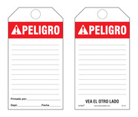 Peligro (Ansi, Spanish) Bilingual Paper Safety Tag