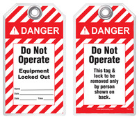 Lockout Safety Tag - Danger, Do Not Operate, Equipment Locked Out (ANSI Header)