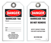 Maintenance Safety Tag - Danger, Barricade Tag