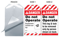 Danger, Do Not Operate, Equipment Locked Out By Self-Laminating Tag Kit (Ansi)