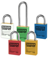 Color Coded Brass Padlocks With Danger Locked Out Legend