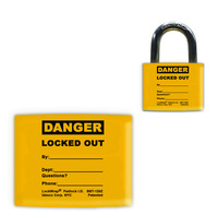Lockwrap® Color-Coded Padlock Sleeve, Yellow, Danger, Locked Out