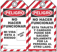 Peligro Bilingual Self-Laminating Peel and Stick Tag, No Hacer Funcionar   (Spanish)