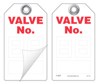 Valve No. (2-Digit) Self-Laminating Peel and Stick Safety Tag