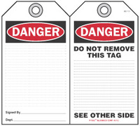 Danger Self-Laminating Peel and Stick Safety Tag