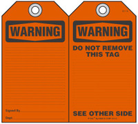 Warning Self-Laminating Peel and Stick Safety Tag