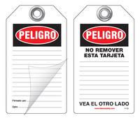 Peligro Self-Laminating Peel and Stick Safety Tag (Spanish)