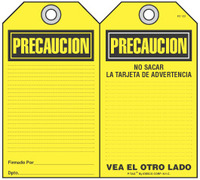 Precaucion Self-Laminating Peel and Stick Safety Tag (Spanish)