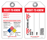 Right-To-Know (Spill, Leak, Fire, Personal Exposure) Self-Laminating Peel and Stick Safety Tag