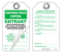 Confined Space Control, Entrant Self-Laminating Peel and Stick Safety Tag
