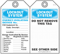 Lockout System Energy Isolating Device Self-Laminating Peel and Stick Safety Tag