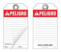 Peligro Self-Laminating Peel and Stick Safety Tag (Spanish, Ansi)