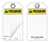 Precaucion Self-Laminating Peel and Stick Safety Tag (Spanish, Ansi)