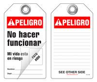 Peligro, No Hacer Funcionar, Mi Vida Esta A Riesgo Self-Laminating Peel and Stick Safety Tag (Spanish, Ansi)