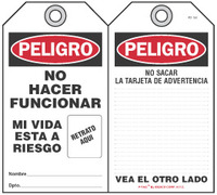 Peligro Bilingual Self-Laminating Peel and Stick Tag, No Hacer Funcionar, Mi Vida Esta A Riesgo   (Spanish)
