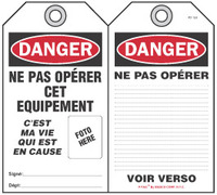 Danger Self-Laminating Peel and Stick Tag, Ne Pas Operer Cet Equipment   (French)