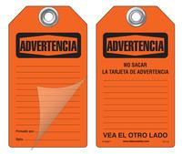 Advertencia Self-Laminating Peel and Stick Safety Tag  (Spanish)