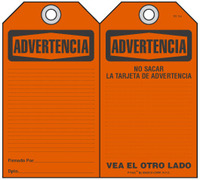 Advertencia Self-Laminating Peel and Stick Safety Tag  (Spanish)