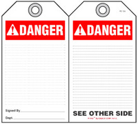 Danger Self-Laminating Peel and Stick Tag (Ansi)